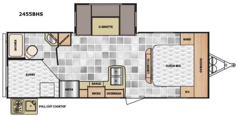 Floorplan - 2017 Winnebago Industries Towables Minnie 2455 BHS