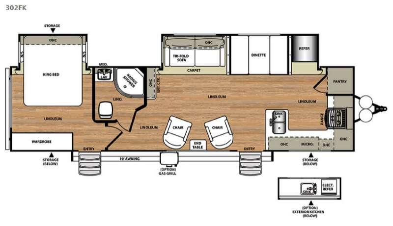 Floorplan - 2017 Forest River RV Salem Hemisphere Lite 302FK
