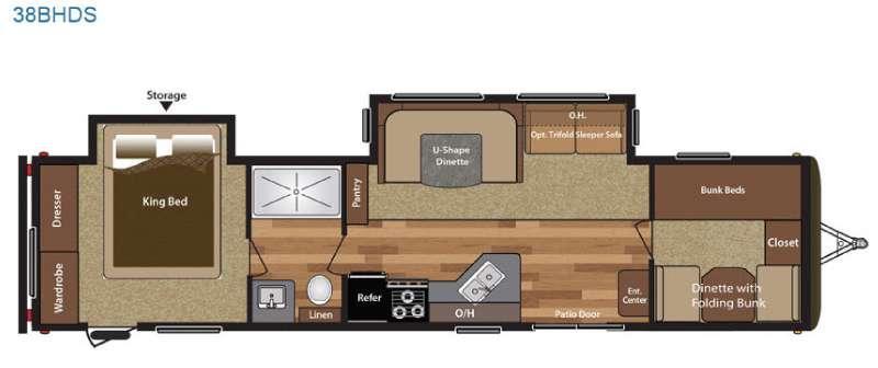 Floorplan - 2017 Keystone RV Hideout 38BHDS