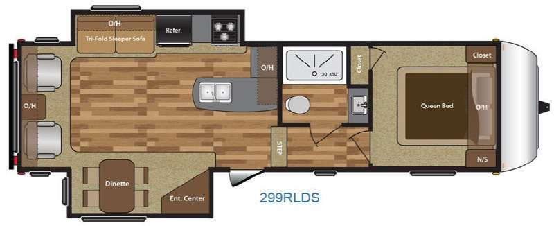 Hideout 299RLDS Floorplan Image