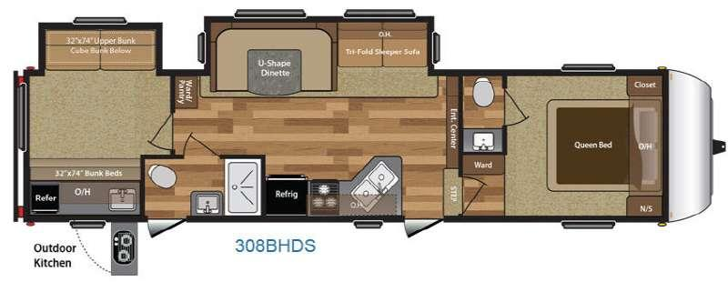 Floorplan - 2017 Keystone RV Hideout 308BHDS