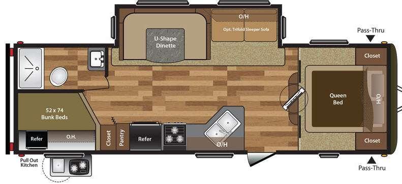 Floorplan - 2017 Keystone RV Hideout 27DBS