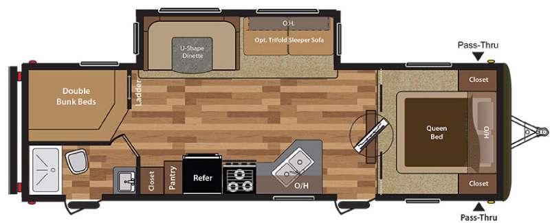 Floorplan - 2017 Keystone RV Hideout 28BHS