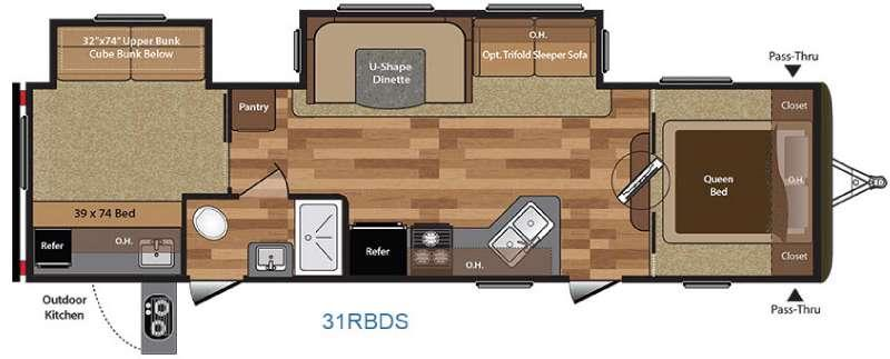 Floorplan - 2017 Keystone RV Hideout 31RBDS
