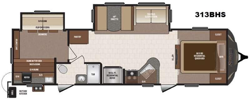 Floorplan - 2017 Keystone RV Sprinter 313BHS