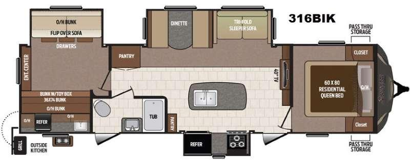 Floorplan - 2017 Keystone RV Sprinter 316BIK