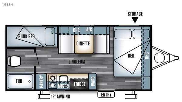 Floorplan - 2017 Forest River RV Salem Cruise Lite FS 195BH
