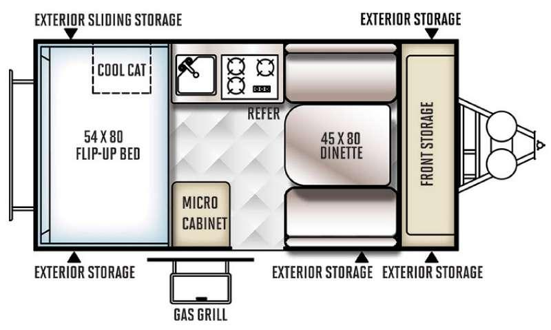 Rockwood Hard Side Series A122SXR Floorplan Image