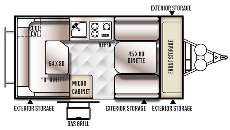 Rockwood Hard Side Series A128S Floorplan Image