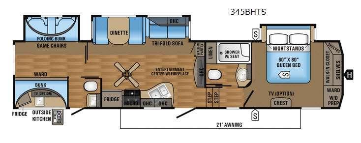 Eagle 345BHTS Floorplan Image