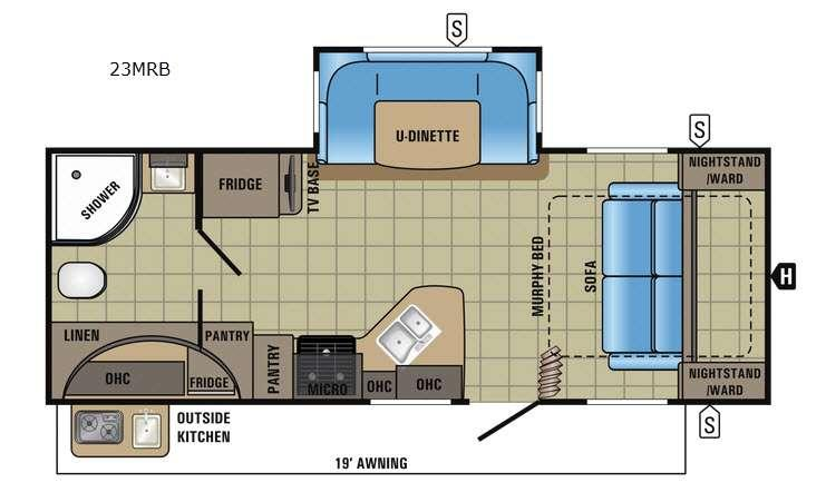 Floorplan - 2017 Jayco White Hawk 23MRB