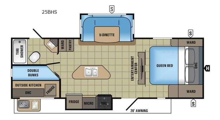White Hawk 25BHS Floorplan Image