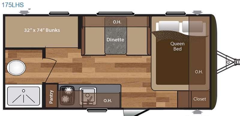 Hideout Single Axle 175LHS Floorplan Image