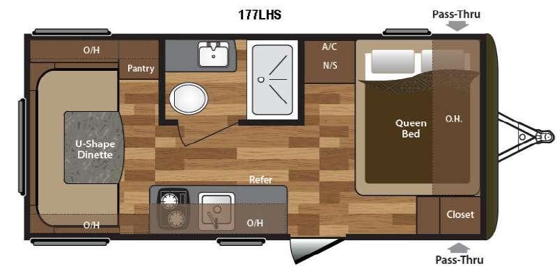 Hideout Single Axle 177LHS Floorplan Image