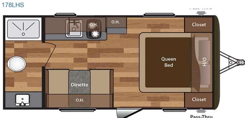 Hideout Single Axle 178LHS Floorplan Image