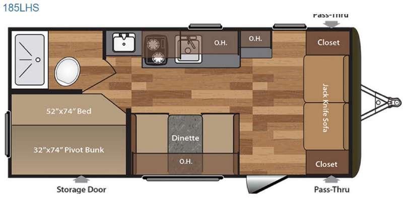 Hideout Single Axle 185LHS Floorplan Image