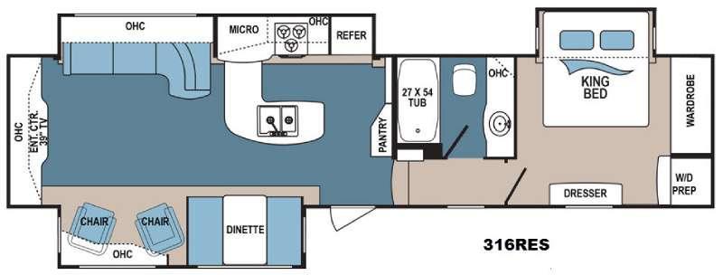 Floorplan - 2017 Dutchmen RV Denali 316RES