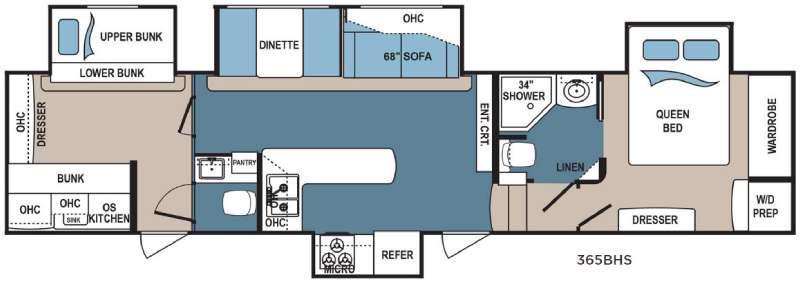 Denali 365BHS Floorplan Image