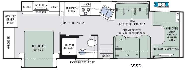 Four Winds Super C 35SD Floorplan Image