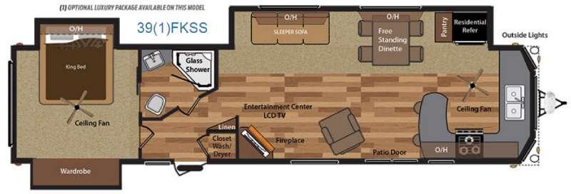 Floorplan - 2017 Keystone RV Retreat 391FKSS