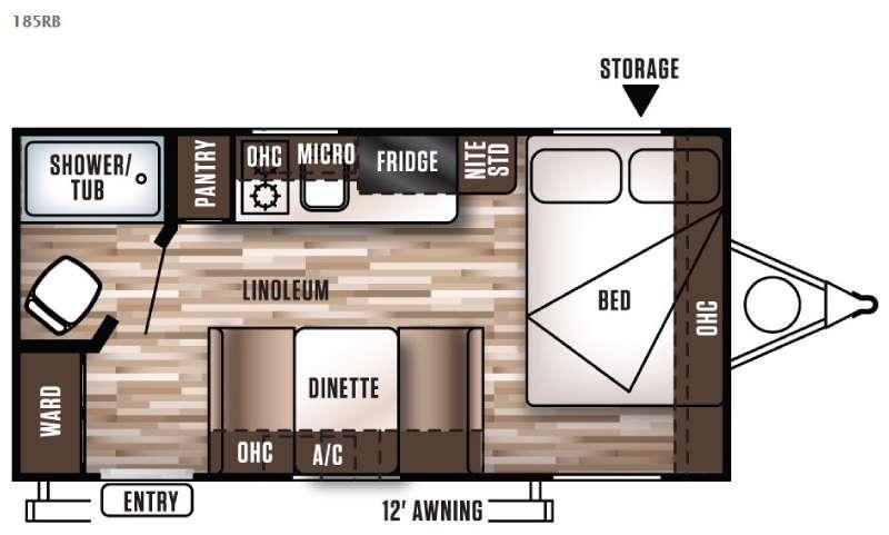 Wildwood X Lite FS 185RB Floorplan Image