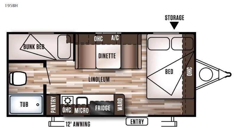 Wildwood X Lite FS 195BH Floorplan Image