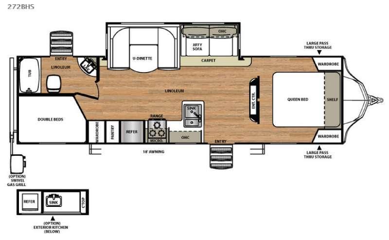 Floorplan - 2017 Forest River RV Vibe 272BHS