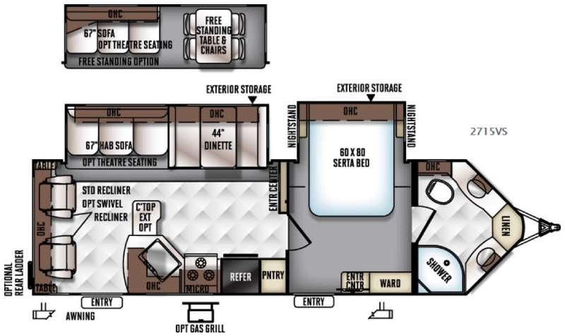 Floorplan - 2017 Forest River RV Rockwood Ultra V 2715VS