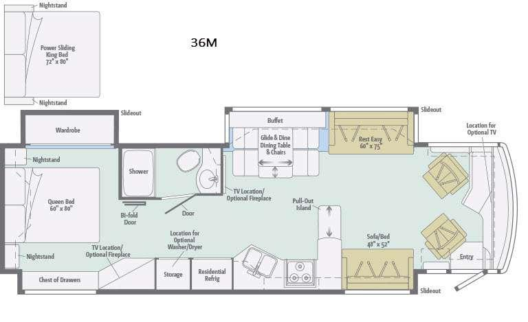 Floorplan - 2017 Winnebago Journey 36M