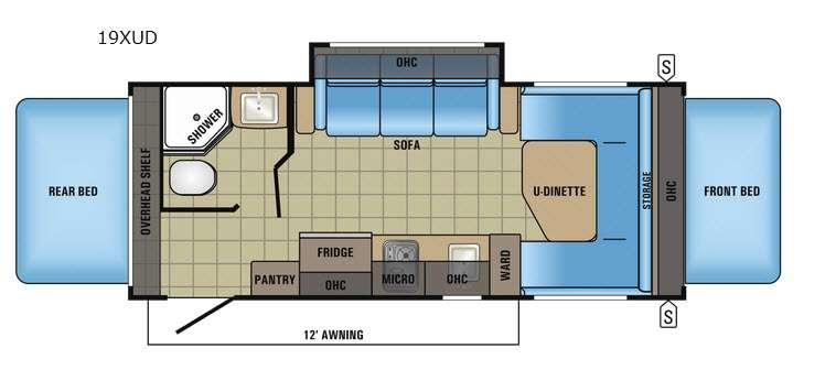 Jay Feather 7 19XUD Floorplan Image