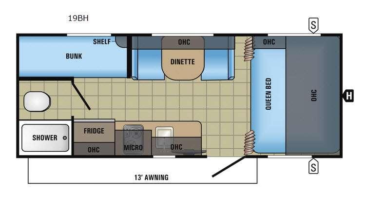 Jay Feather 7 19BH Floorplan Image
