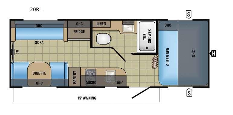 Jay Feather 7 20RL Floorplan Image
