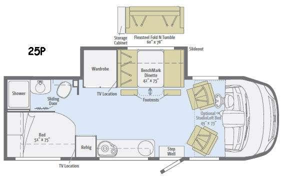 Floorplan - 2017 Winnebago Via 25P