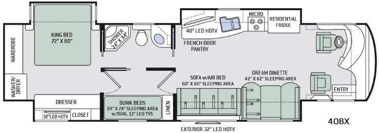 Tuscany XTE 40BX Floorplan Image
