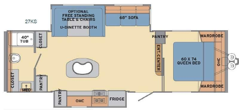 Floorplan - 2017 Shasta RVs Revere 27KS
