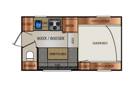 Truck Campers 800X Series Floorplan Image