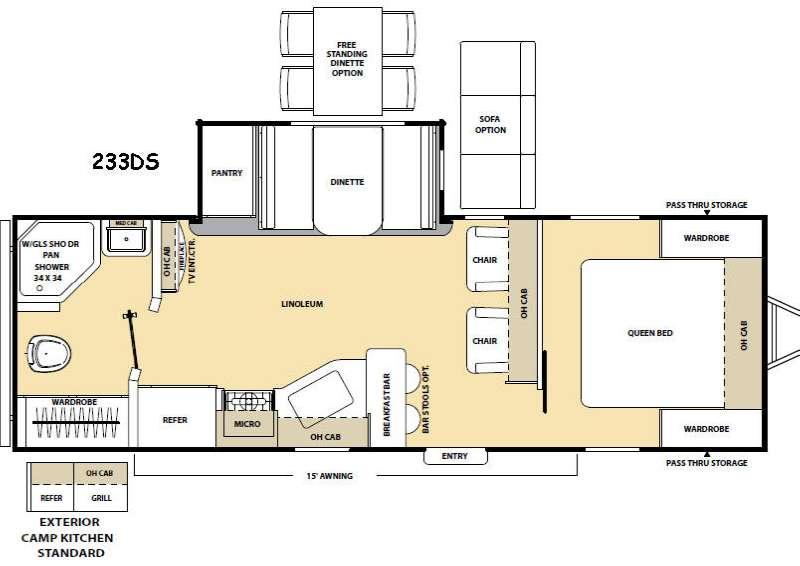 Floorplan - 2017 Coachmen RV Catalina Legacy 233DS