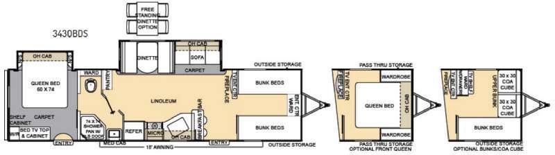 Catalina Legacy 343QBDS Floorplan Image