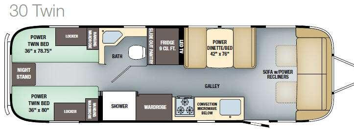 Floorplan - 2017 Classic 30 Twin Travel Trailer