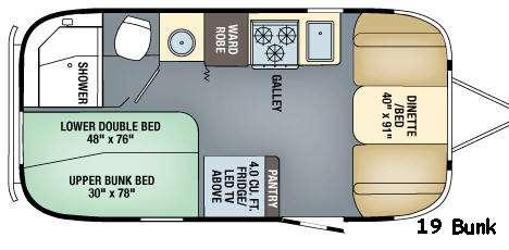 Floorplan - 2017 Airstream RV Flying Cloud 19 Bunk