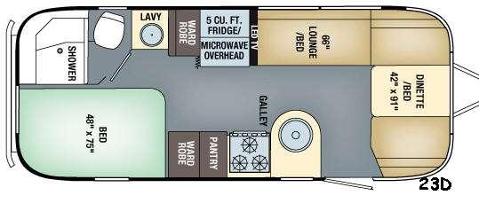 Floorplan - 2017 Airstream RV Flying Cloud 23D
