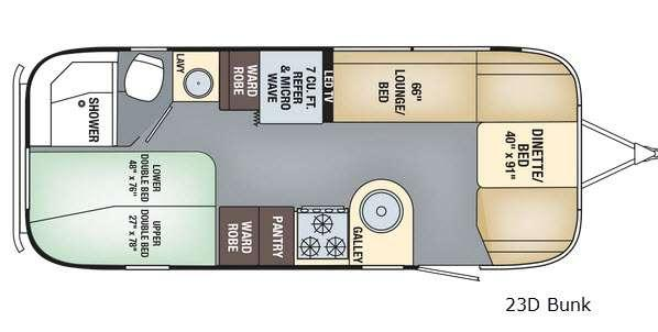 Floorplan - 2017 Flying Cloud 23D Bunk Travel Trailer