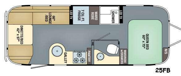 Floorplan - 2017 Airstream RV Flying Cloud 25FB
