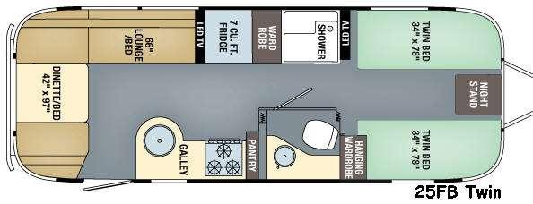Floorplan - 2017 Airstream RV Flying Cloud 25FB Twin