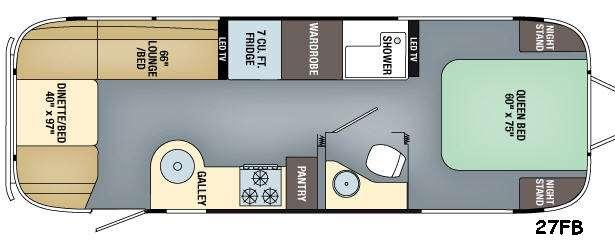 Floorplan - 2017 Airstream RV Flying Cloud 27FB