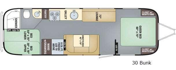 Floorplan - 2017 Airstream RV Flying Cloud 30FB Bunk