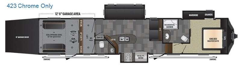 Floorplan - 2017 Keystone RV Fuzion 423 Chrome