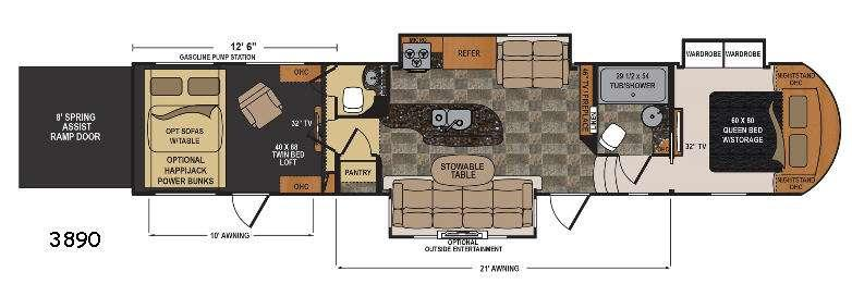 Floorplan - 2017 Dutchmen RV Voltage Epic V3890