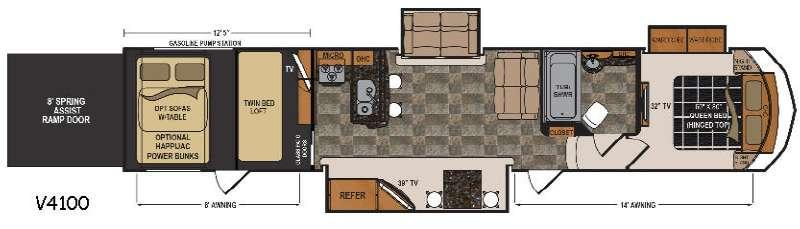 Floorplan - 2017 Dutchmen RV Voltage Epic V4100