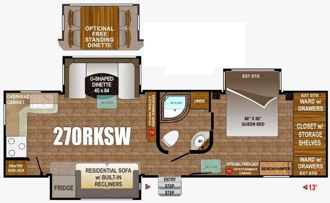 Floorplan - 2016 Outdoors RV Wind River 270RKSW